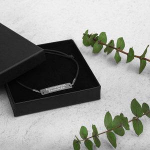 Rudimental Drummer Engraved Silver Bar String Bracelet